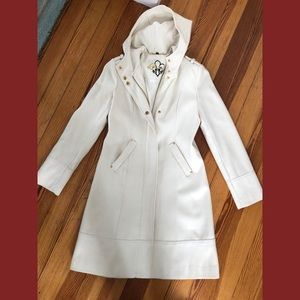 Guess white cream trench dress coat S
